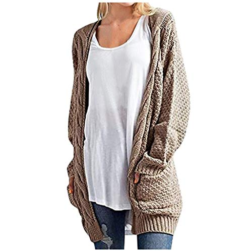 Lazzboy Store Strickjacke Damen Cardigan Frauen Langarm Strick Winter Sweater Einfarbig Mantel Grobstrick Strickmantel Strickcardigan Open Front Patchwork Outwear (Khaki,3XL)