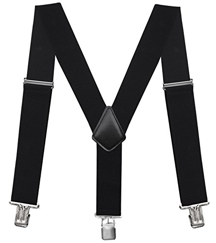 Fasker Mens Suspenders Y-back 2' Wide Adjustable Braces Solid Straight Clip Suspenders