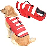 High Visibility Large Dog Life Jacket Safety Vests for Swimming, Superior Buoyancy & Rescue Handle (L (Chest Girth: 22.5'-30'), Bright Red)