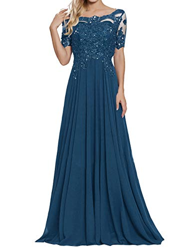 Damen Spitzen Abendkleider Chiffon Brautmutterkleider Lang Kurzarm Brautjungfernkleider Ballkleider A-Linie Tintenblau 46