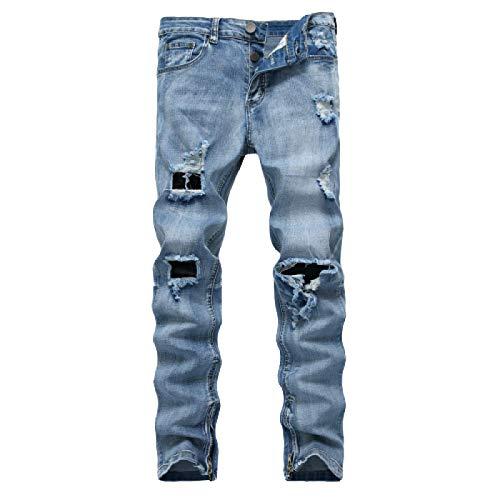 Beastle Pantalones Vaqueros elásticos Rasgados para Hombre Moda Slim Fit Streetwear Tendencia Pantalones de Mezclilla con Cremallera de Gran tamaño Europa y América 38