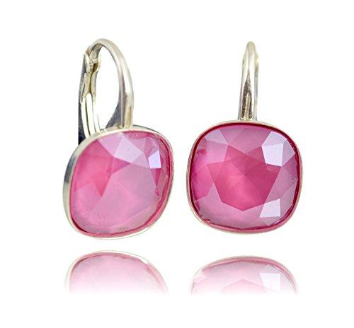 Crystals & Stones *Viele Farben* Silber 925 *SQUARE* - Ohrringe mit Kristallen von Swarovski - Schön Ohrringe Damen Ohrhänger - Wunderbare...