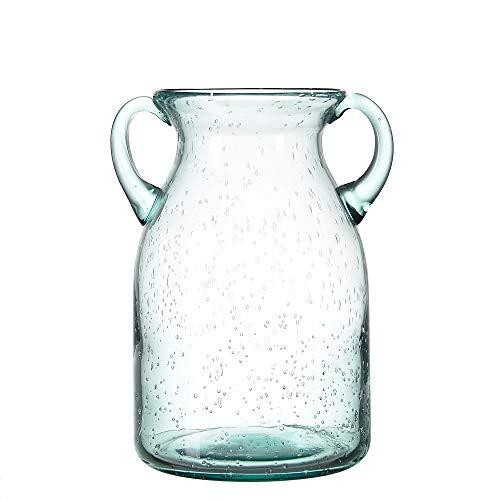 sunkey Flower Vase Glass Elegant Double Ear Decorative Handmade Air Bubbles Bluish Color Glass Vase for Centerpiece Home Decor (Medium)