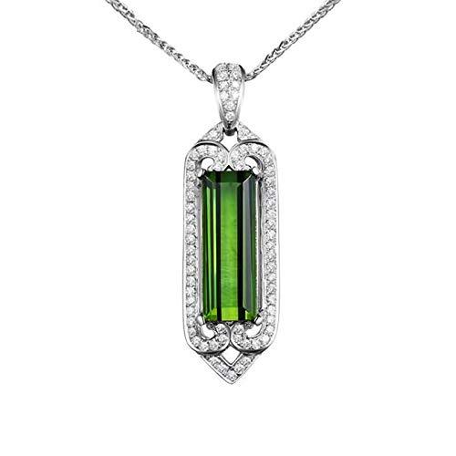 AnazoZ Collares Mujer Compromiso Verde Collar Cadena Oro Blanco 18K Mujer Collar Rectángulo Turmalina Verde 2.56ct Diamante Blanco 0.2ct