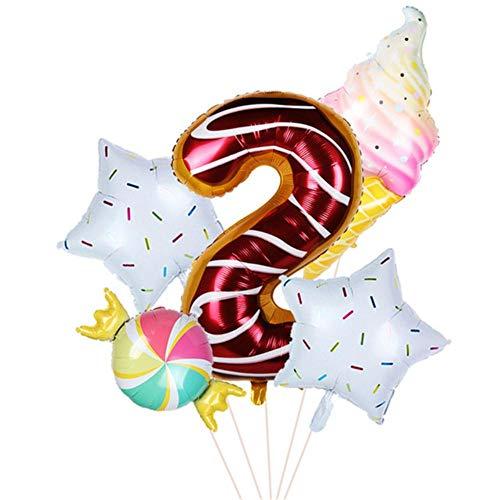 YUANCHENG Donut Party Globos Helado Globos de Helio Bola de Cristal 1 2 3 4 5 6 7 8 9 Globo Digital Baby Shower Decoración de Fiesta de cumpleaños, 5 Piezas Número 2