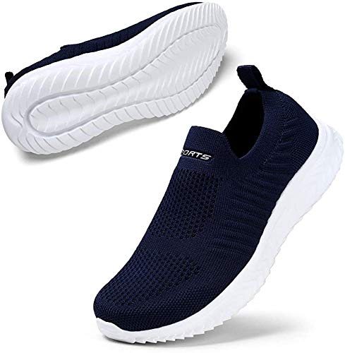 STQ Damen Bequen Schuhe Mesh Slip on Wanderschuhe Trendige Freizeit Leichte Turnschuhe Athletic Jogging Sneakers Dunkelblau 40 EU
