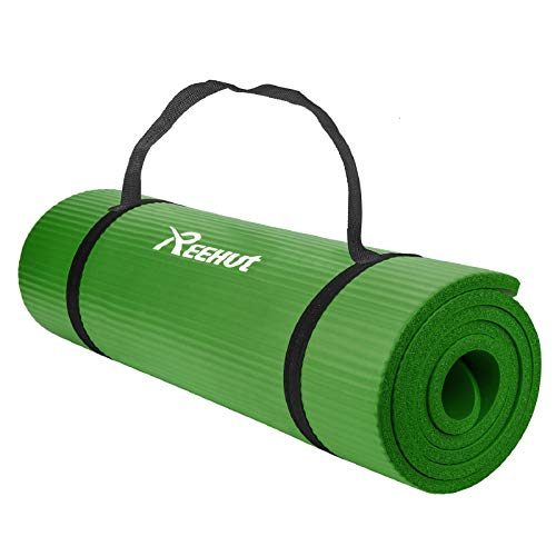 REEHUT Tappetino 12mm Yoga Pilates Fitness Allenamento Gomma NBR Espansa Alta Densità con Cinturino - Verde