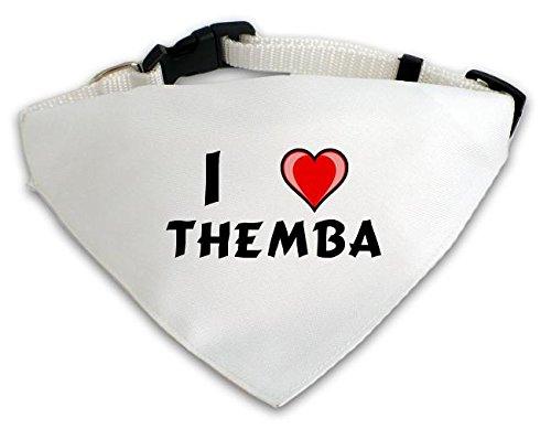 Personalisierter Weißer Hundschal mit Aufschrift Ich liebe Themba (Vorname/Zuname/Spitzname)