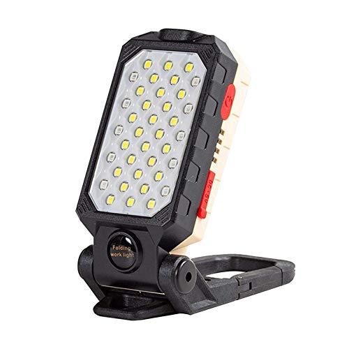 Linterna LED magnética / Luz de trabajo con soporte incorporado, Luz de trabajo recargable LED, 3 modos Floodlight de seguridad 3 Modos para garaje, pesca, Senderismo, Camping ( Color : Large )
