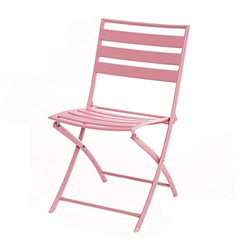 ZWJLIZI Folding Table/chair, Portable Wrought Iron Balcony Square/round Leisure Table And Chair (pink), Nordic Ins Style Photo Props (Color : Folding chair)