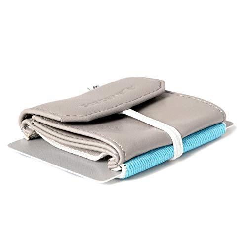 Space Wallet Push | Mini Portemonnaie für Damen & Herren | Kleine Geldbörse aus Kunstleder | Geldbeutel & Kartenetui für bis zu 15 Kreditkarten / EC-Karten / Visitenkarten (Surfer Grey)