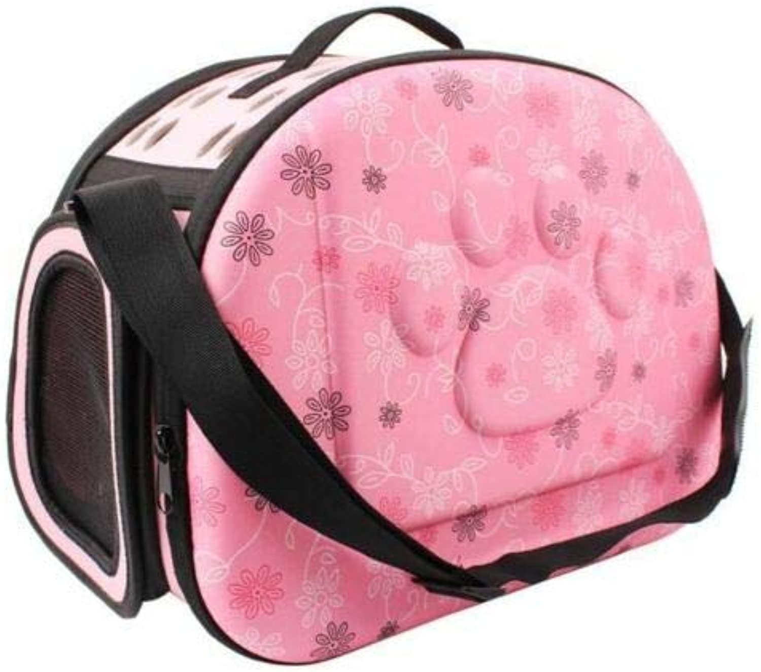 FidgetKute Folgeable Soft Pet Carrier Puppy Dog Outdoor Travel Shoulder Bag for Smal Pink 43X27X31cm