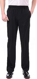 Men's Thin Casual Straight Leg Full Elastic Waist Pull On Pants
