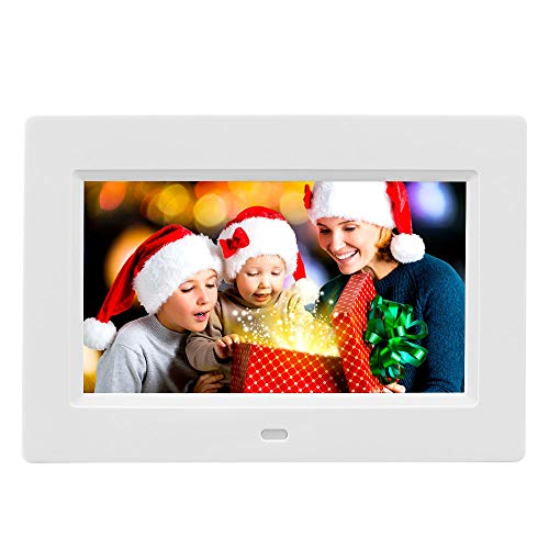 7 Inch Digital Photo Frame Digital Picture Frame IPS Display Full View Angle Electronic Photo Frame Video Music Playback with Remote Control,USB SD Card Slots Calendar/Alarm Clock