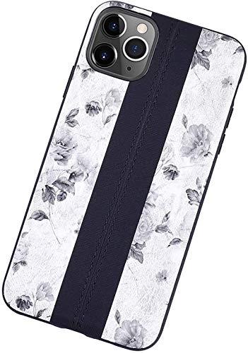 YHNJI Funda para iPhone 12/12 Pro/12 Pro Max con diseño de flores bordadas para teléfono de niñas y mujeres, suave TPU, a prueba de golpes, ultra fina, anticaída, ultraligera, color blanco, 2, X/XS