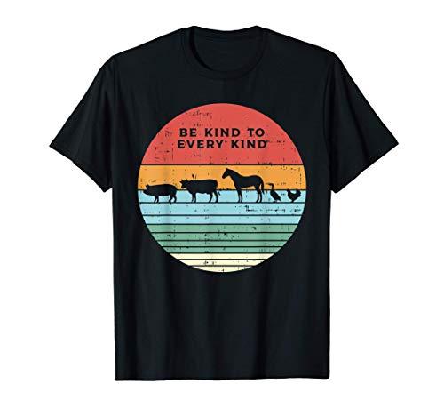Be Kind Farm Animals Retro Vegan Vegetarian Men Women Gift Camiseta