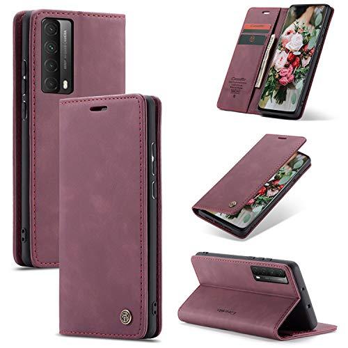 XINYUNEW Funda Compatible para Huawei P Smart 2021/Huawei Y7A Carcasa con Flip Case Cover Cuero Magnético Plegable Carter Soporte Prueba de Golpes Caso-VinoTinto