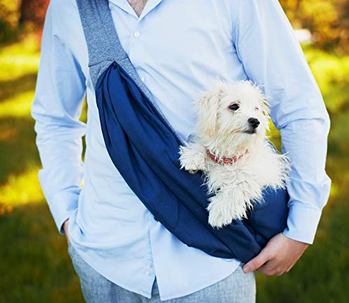 BuddyTastic Pet Sling Carrier Dog Bag | Reversible and Hands-Free | Adjustable Strap and Pocket | Comfortable Travel with Dog Cat Puppy | Up to 15 lbs 2
