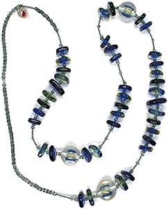 Collar Antica Murrina CO714A06, Azul, 90 cm, Cuadrados esferas, Cristal Murano