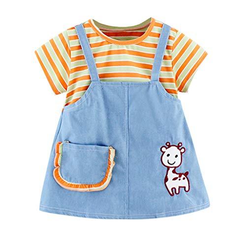 (3M-3Y) Toddler Kids Babys Girls Stripe Print Tops Patchwork Princess Dress Outfits Children's Short Sleeved Cartoon Stripe Print Stitching Princess Dress