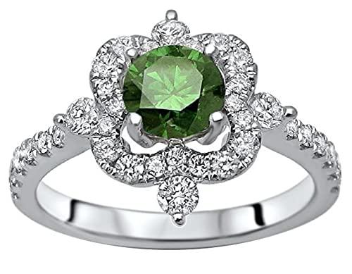 SILVERHUB Anillo de compromiso de 1,25 quilates de corte redondo verde esmeralda CZ diamante Art Deco para mujer en plata 925 chapada en oro blanco de 14 quilates, Metal no precioso., circonita,