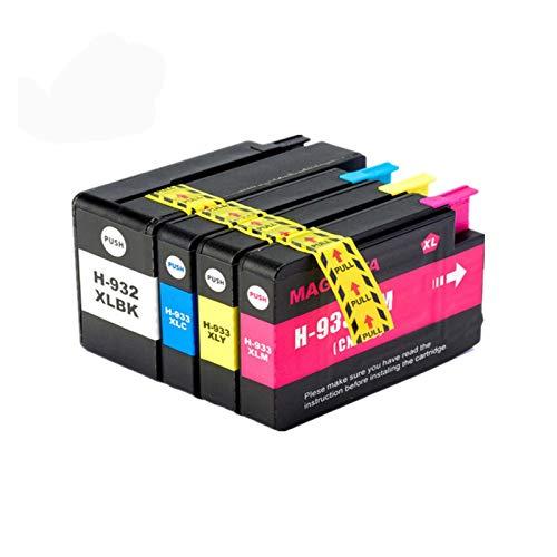 YYCH Tinta de Impresora 1set 932xl 933 para HP932 933XL Cartucho de Tinta de reemplazo para HP 932 OfficeJet 6100 6600 6700 7110 7610 7612 Impresora Productos de Oficina