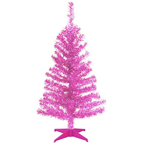 National Tree Company Artificial Christmas Tree | Includes Stand | Pink Tinsel - 3 ft