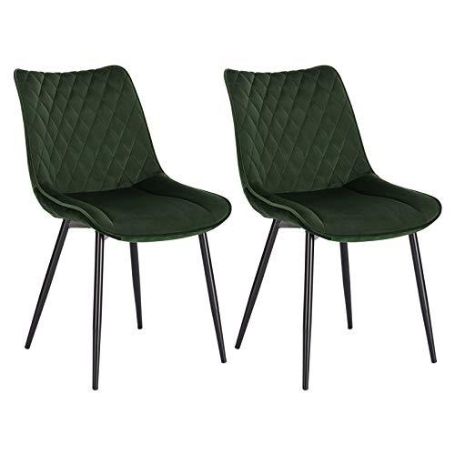 WOLTU® Esszimmerstühle BH209dgn-2 2er Set Küchenstuhl Polsterstuhl Wohnzimmerstuhl Sessel mit Rückenlehne, Sitzfläche aus Samt, Metallbeine, Dunkelgrün