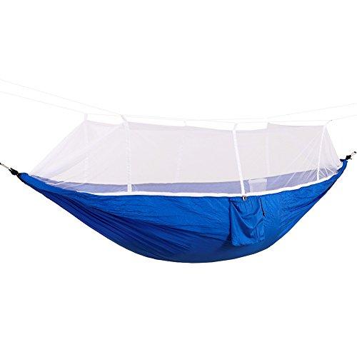 DaiHan Camping Hamaca con mosquitera Ligero Nylon paracaídas Hamaca Hamaca de Carga para jardín al Aire Libre Camping Senderismo Mochila de Viaje Azul Blanco M