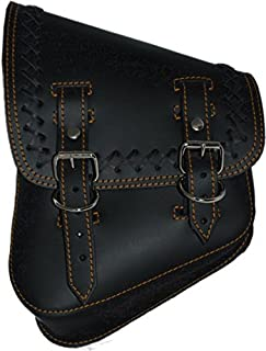La Rosa Design All Harley-Davidson Softail/Rigid Frames Left Side Leather Saddle Bag-Black Leather with Crossed Lace Orange Thread