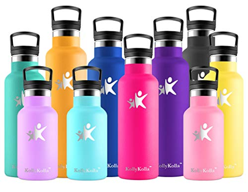 KollyKolla Botella de Agua Acero Inoxidable, Termo Sin BPA Ecológica Reutilizable, Botella Termica con Pajita y Filtro, Water Bottle para Niños & Adultos, Deporte, Oficina, Yoga, (500ml Rosa Roja)