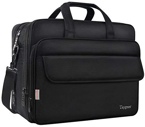 Taygeer 17-inch laptoptas, uitbreidbare computer-schoudertas, waterdichte reis-kantoor-schoudertas voor mannen vrouwen, voor zakelijke aktetas voor 17 inch tablet, notebook, HP/Acer/Dell/Asus-zwart
