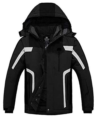 Wantdo Men's Waterproof Ski Jacket Warm Winter Snow Coat Windbreaker Black L