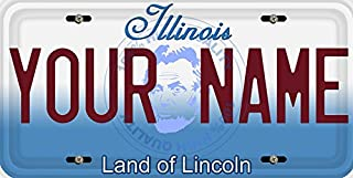 BleuReign(TM) Personalized Custom Name Illinois State Car Vehicle License Plate Auto Tag (ALL STATES AVAILABLE)