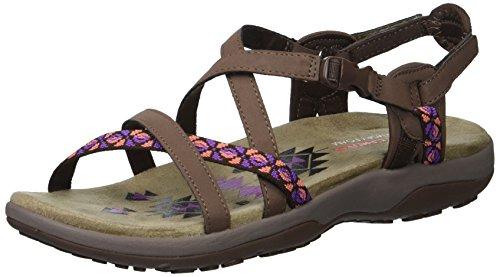 Skechers Women's Regga Slim Keep Close Gladiator Sandal,chocolate,10 M US