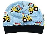 Kleine Könige Mütze Baby Jungen Beanie · Modell Gelber Traktor, Marineblau · Ökotex 100 Zertifiziert · Größe 74/80