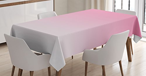 """Ambesonne Ombre Tablecloth, Dreamy Light Pink Waterfall Inspired Modern Digital Print Girls Room Decorations, Dining Room Kitchen Rectangular Table Cover, 52"""" X 70"""", Light Pink"""