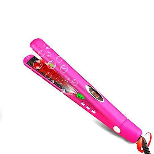 Fantastic Deal! Ionic Hair Straightener Flat Iron With 1 Inch Wide Plates Adjustable Temperatures, 60 Minutes Auto Shut Off, LED Digital Display Styling Tool, 40-Second Fast Heating, Wet/Dry, Dual Voltage,Pink