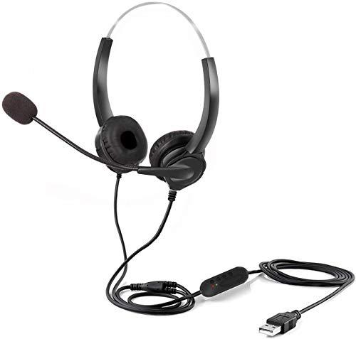 ENTBI Auriculares USB con micrófono, Auriculares para PC con micrófono con cancelación de Ruido y Controles de Audio para el Servicio al Cliente, Llamadas de Conferencia en línea Skype (Black)