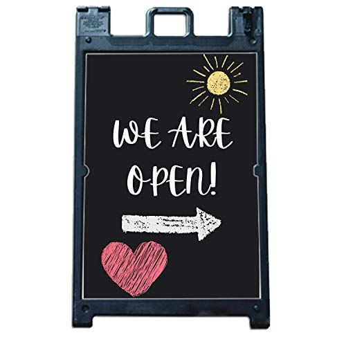 We Are Open | Chalkboard A Frame Design | Cute Store Sign | Coronavirus A-Frame Corrugated Plastic Signs INSERT ONLY - Health/Safety | COVID 19 | Sidewalk Sign Inserts to A Frame Sign Holders | 24'' by 36'' | *Stand Not Included*