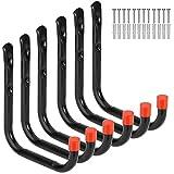 Heavy Duty Garage Storage Utility Hooks Wall Mounted Tools Hangers Organizer (6 Pcs Black 7.1' Large J hook)