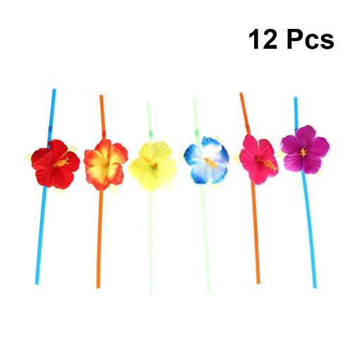 PRETYZOOM 12 Stück Hibiskusblüten bezahlbare Strohhalme Hawaiian Cocktails aus Strand Luau Dekoration für Feste und Forniture (Farbe Casual)