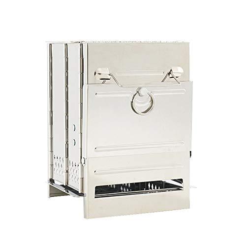 FJROnline Barbacoa de carbón, hornillo de camping, mochila plegable, horno portátil, de acero inoxidable, cocina clara (A)