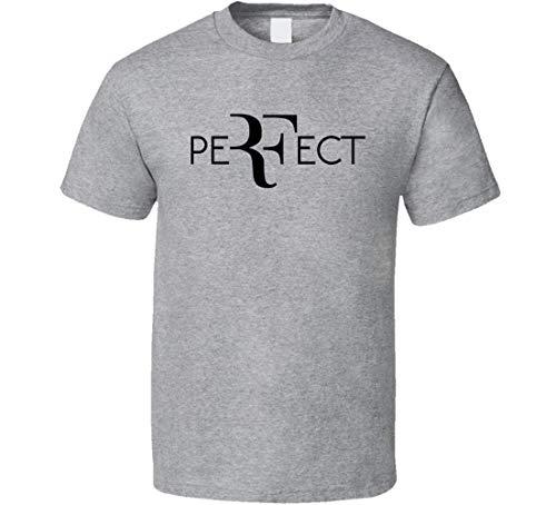 N/Y Perfect RF Roger Federer Wimbledon Tennis Fan T Shirt Sport Grigio Nero L