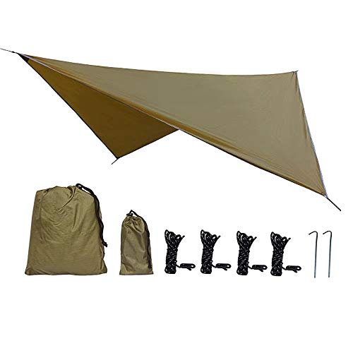 """Phiroop Camping tarp Waterproof Hammock Rain Fly Tent Shelter Essential Survival Gear Sunshade Hiking Backpacking Approved Multifunctional Outdoor Awning 138"""" x 114"""" (Brown)"""