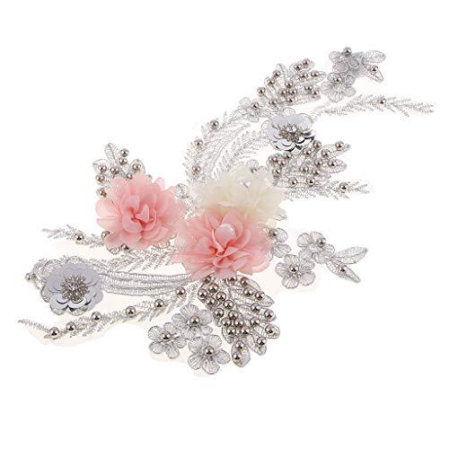 FLAMEER Spitzenbesatz Spitzen Appliation Blume Spitze mit Perlen Nähen Stickrei Handwerk DIY