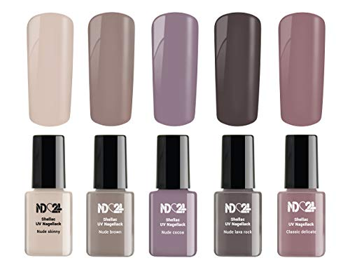 Beauty Nude Collection Set - Shellac Uv Nagellack Gellack Soak Off Gel - Made in Germany (5 x 12ml)