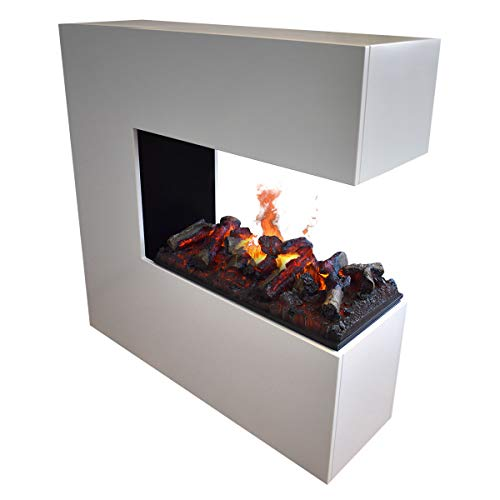 GLOW FIRE Schiller Elektrokamin Opti Myst Cassette 500 mit Holzdeck L, 3D Wasserdampf Feuer, elektrischer Raumteiler Standkamin mit Fernbedienung | Regelbarer Flammeneffekt, 120 cm, Weiß