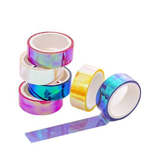 Uoeo 6 Rollen Rhythmische Gymnastik Dekoration holografisch prismatisch Glitzer Tape Hoop Aufkleber Farbe Wasserdicht Tape Aufkleber je 5 m