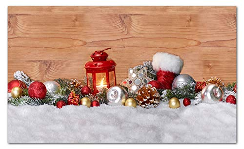TAPPETIK Tappeto Natalizio, Passatoia in Stampa Digitale Alta qualità, Ampia Gamma di Colori e Disegni (Serie Digit Natale) - Disegno Natale 1 (52x140cm)